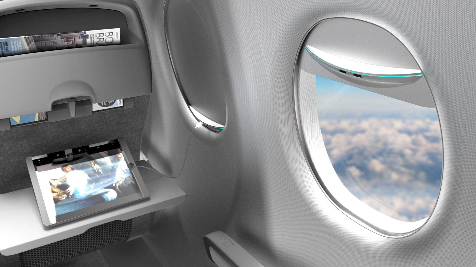 Las ventanas solares nos permitirán cargar nuestros dispositivos en el avión