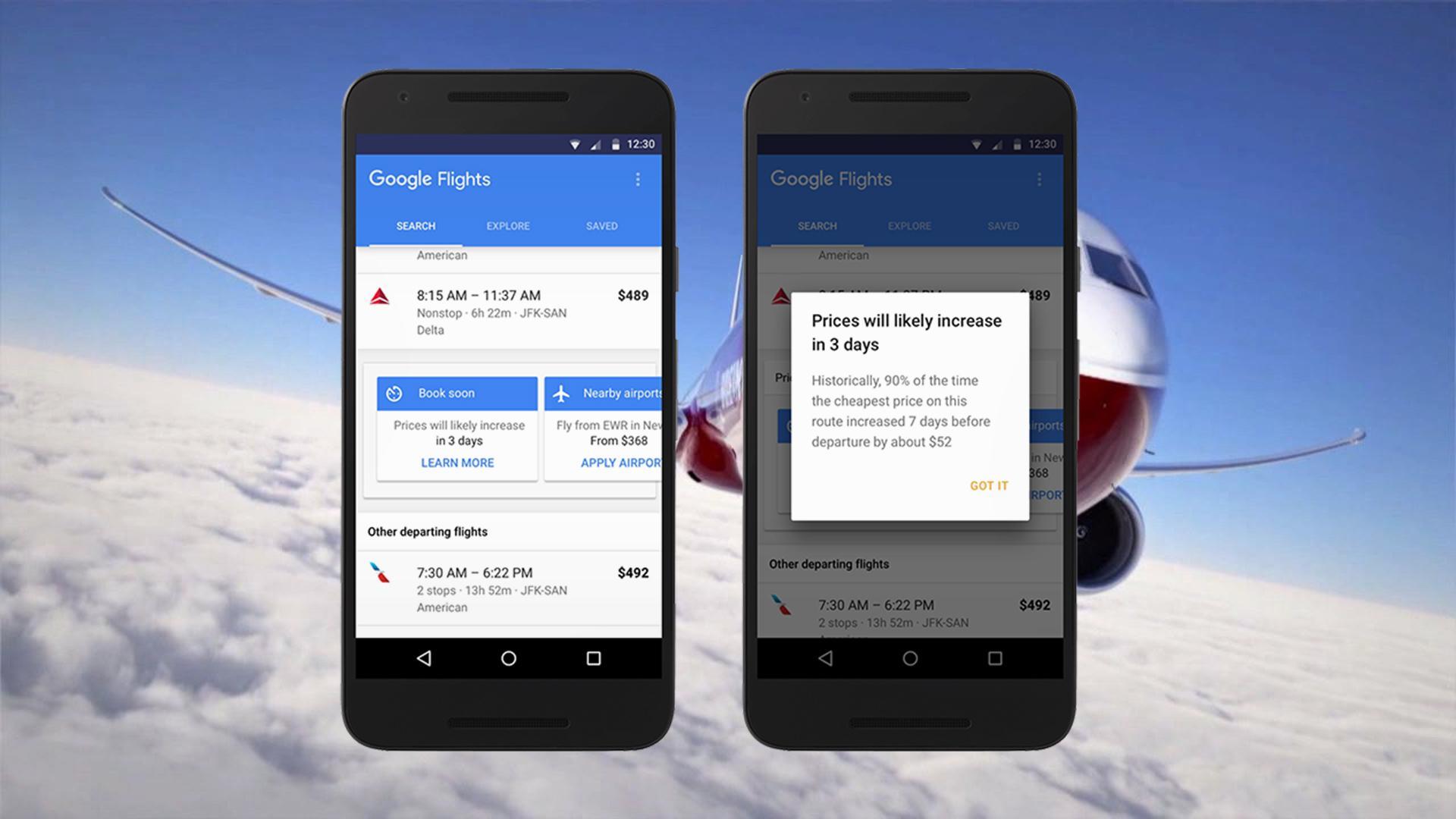 Google Flights nos avisa si el precio de un vuelo subirá, antes de que suceda