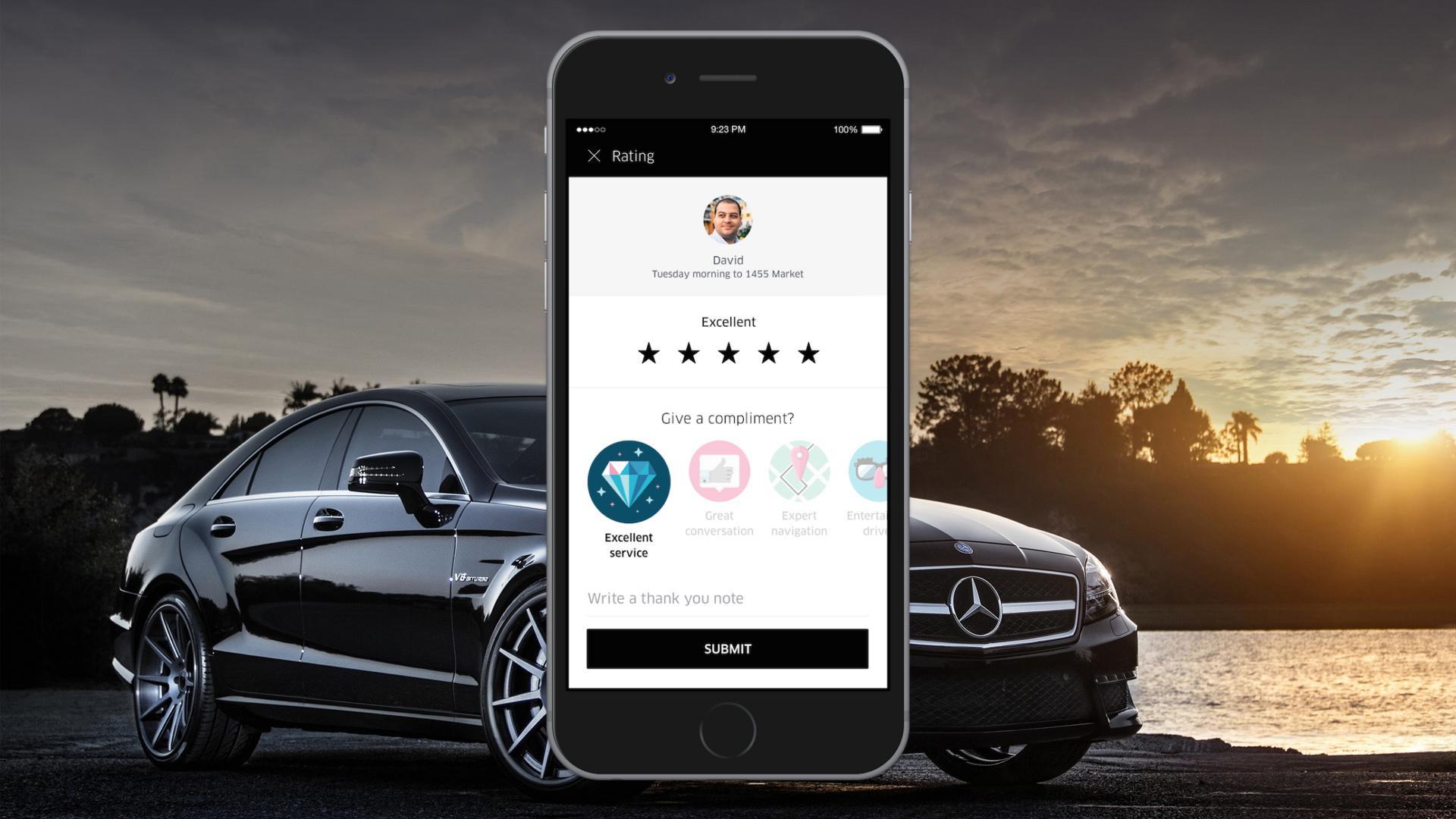 Uber ahora permite agradecer al conductor con stickers
