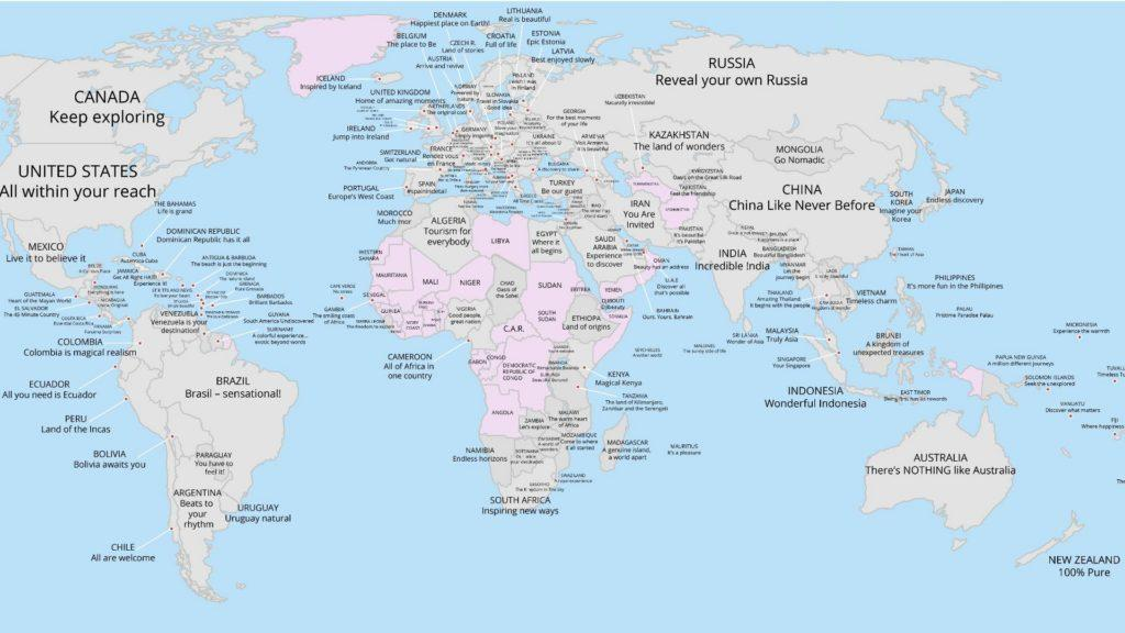 Los slogans de cada país en un solo mapa