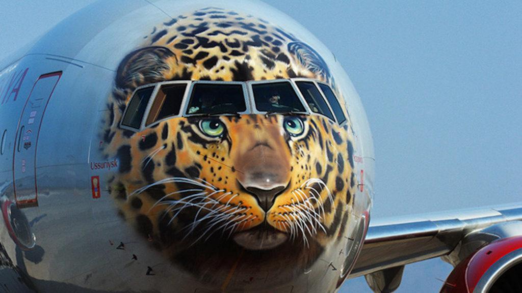 El llamativo avión con cara de leopardo