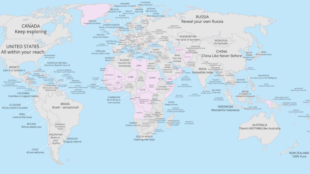 Este mapa muestra los slogans de cada país del mundo, para promocionar su turismo