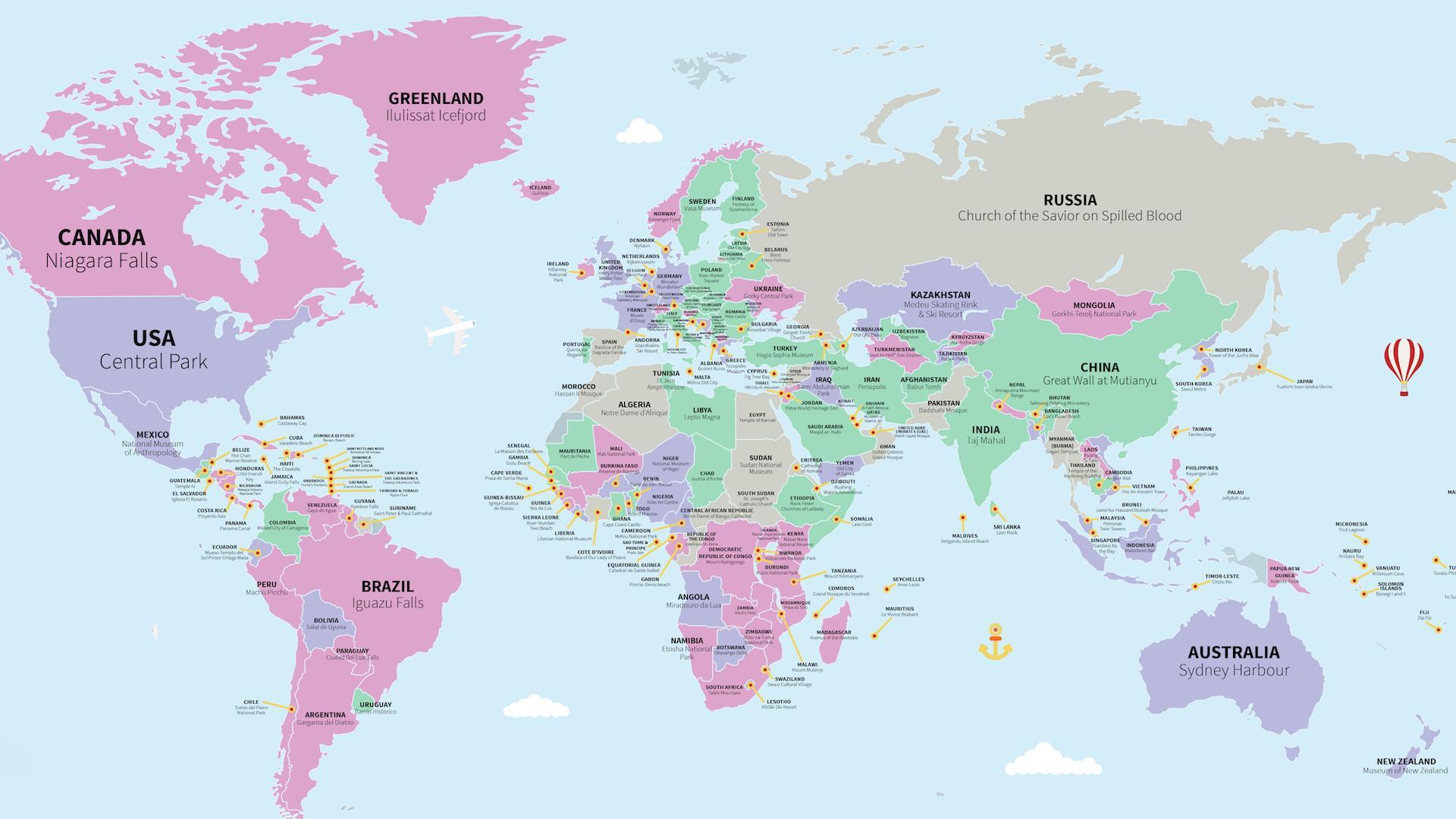 Este mapa nos muestra las principales atracciones turísticas de cada país