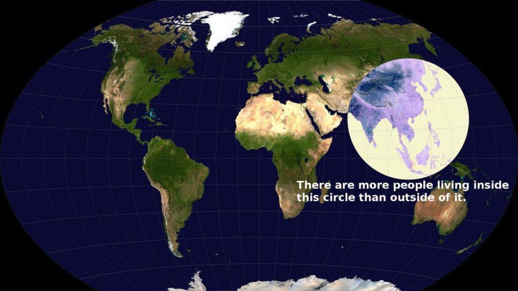 Más de la mitad de la población del mundo vive dentro de este círculo
