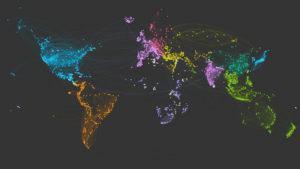 Un mapa del planeta Tierra creado solo con itinerarios de viaje