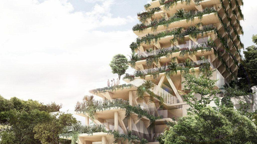 [Imágenes] El original edificio verde hecho de madera que se construirá en Brasil
