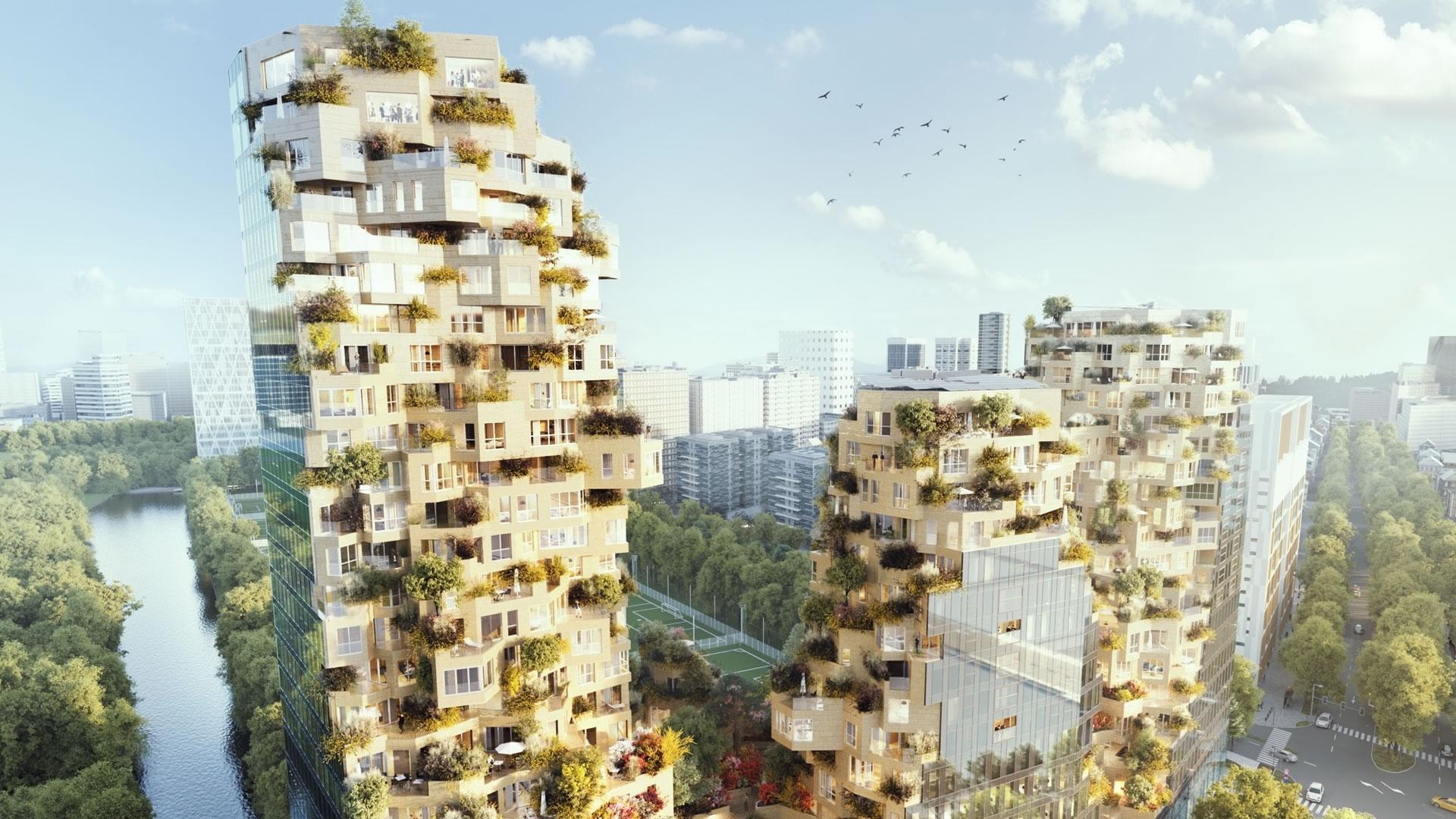 El sorprendente complejo verde que se construye en Ámsterdam