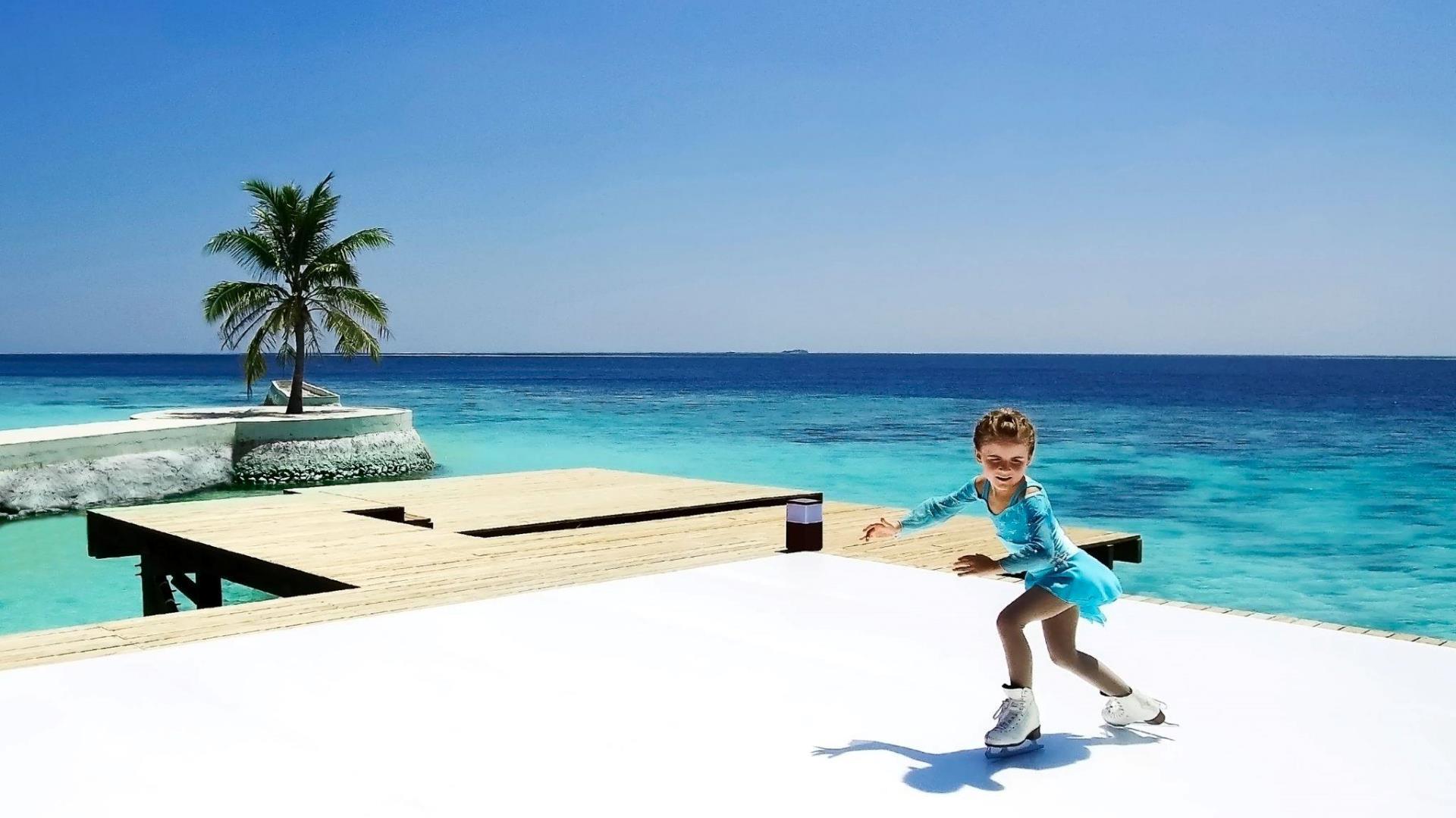Abren la primera pista de hielo frente al mar en Maldivas