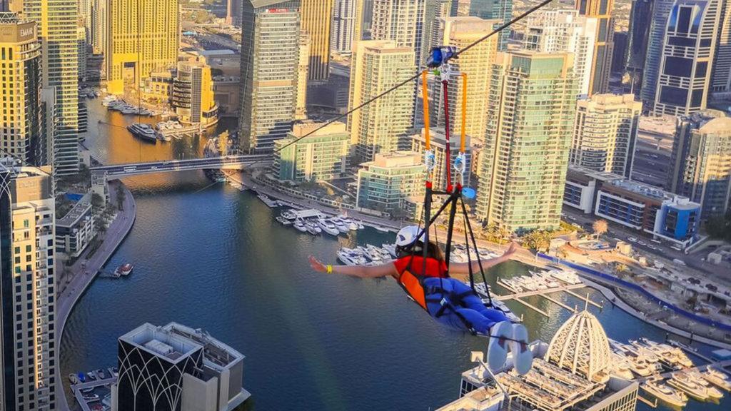 Así es el imponente nuevo zip line de Dubái