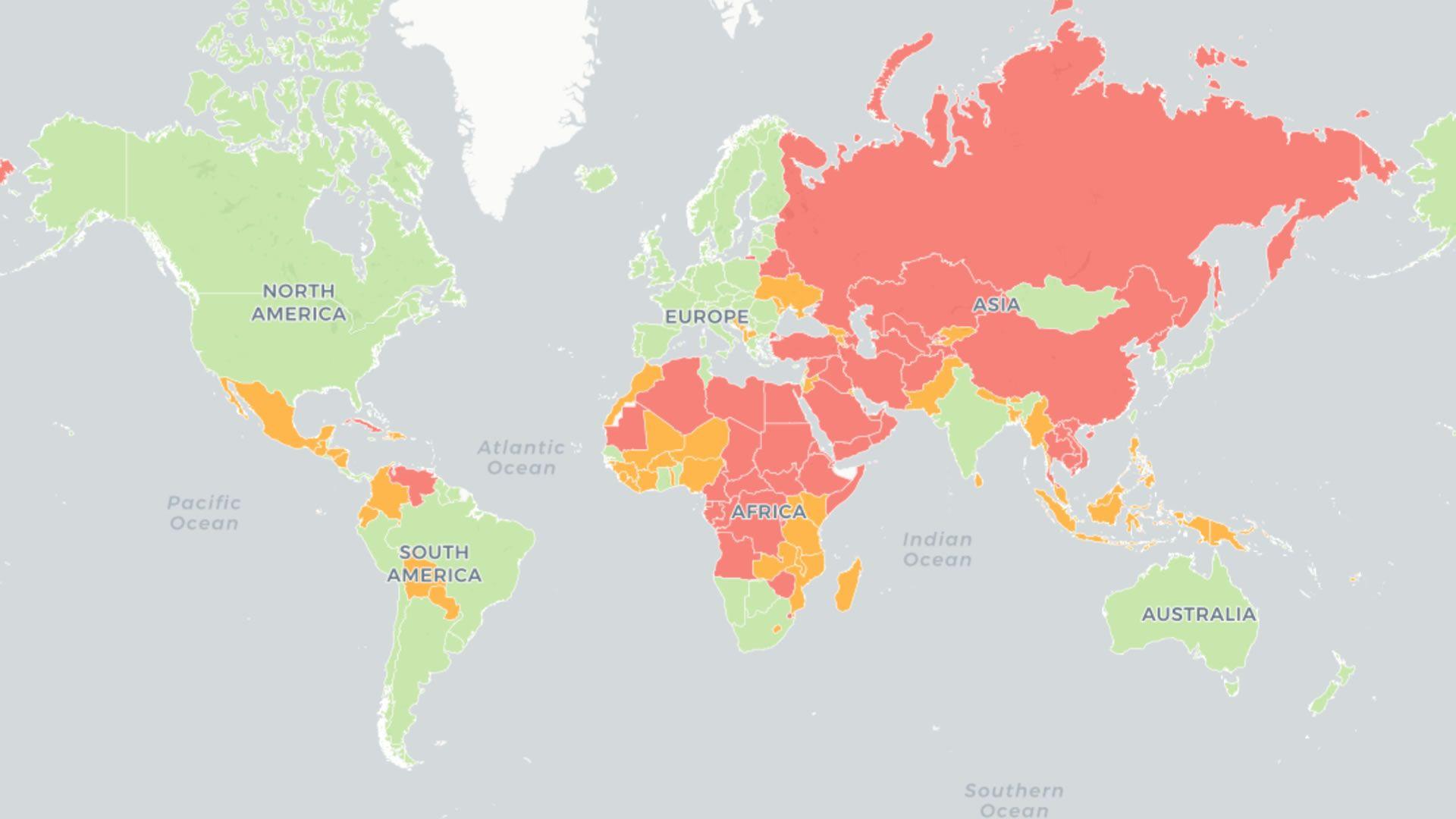 Los países más y menos libres del mundo