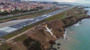 La impactante imagen de un avión que despistó en Turquía