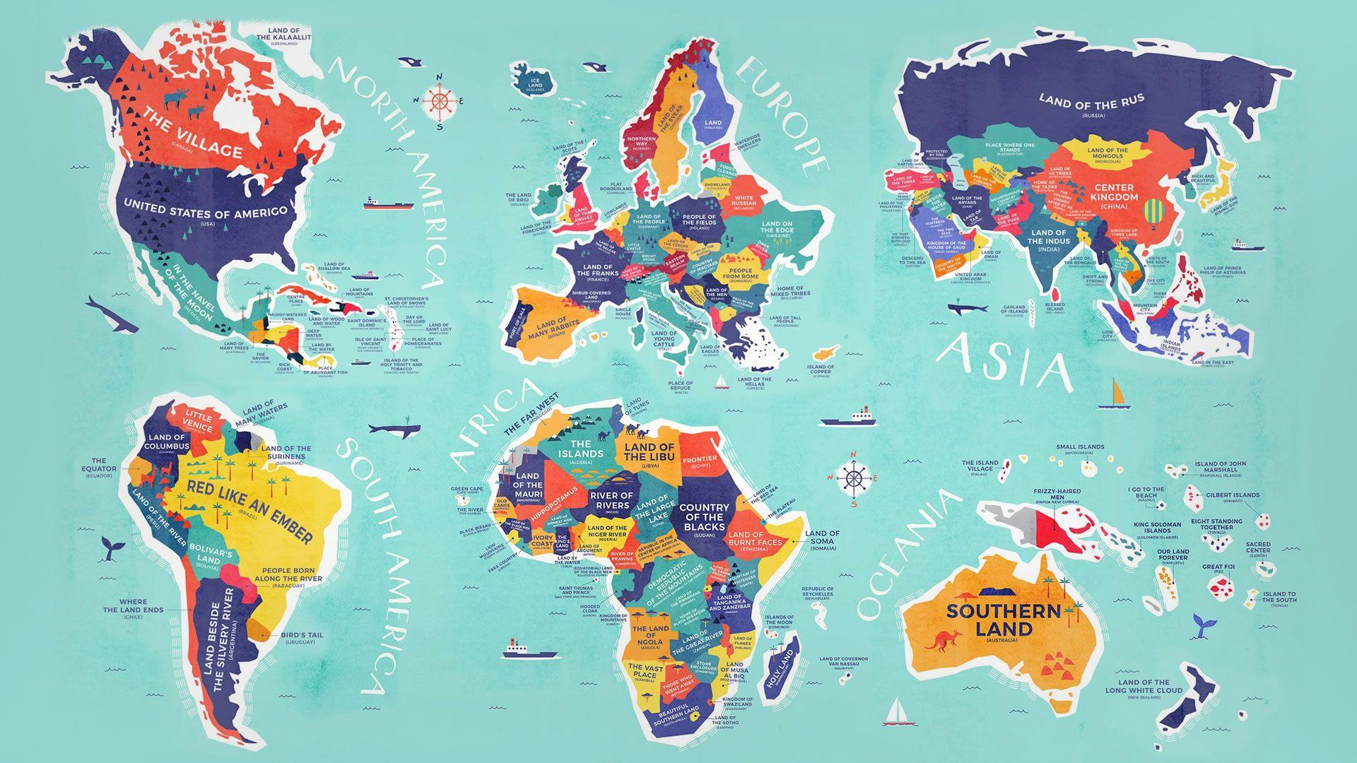 El mapa que nos muestra el significado del nombre de cada país