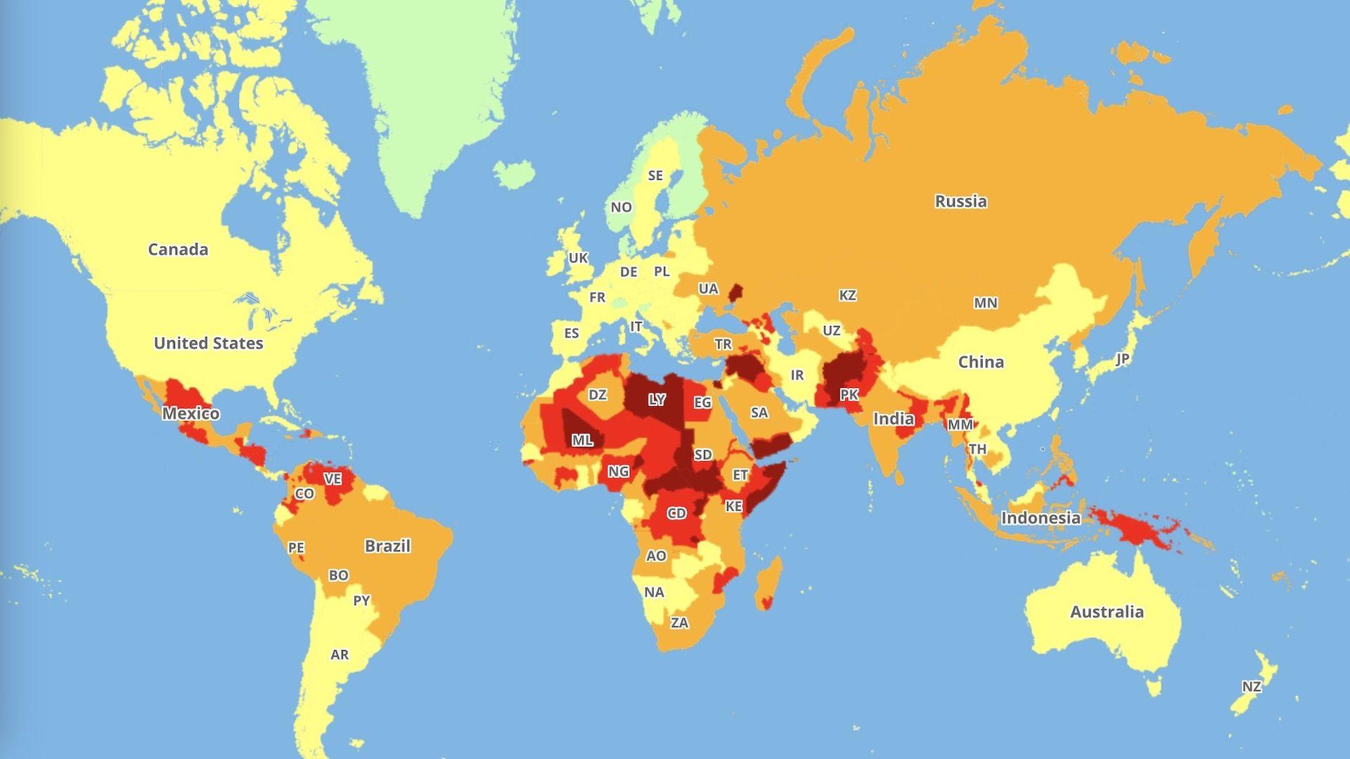 Estos son los países más peligrosos para viajar: mapa interactivo