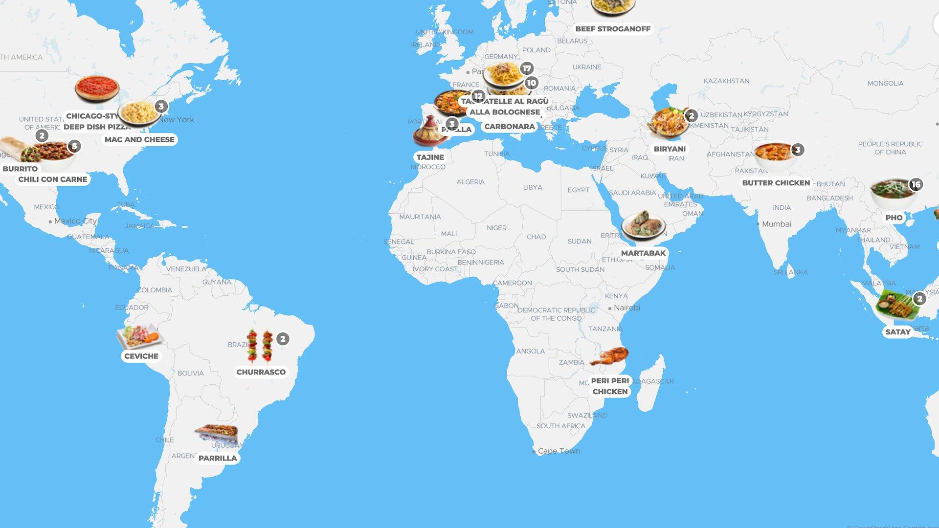 TasteAtlas: el mapa que nos muestra las comidas típicas de cada país