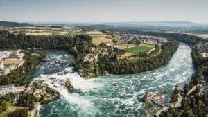 Así es la atractiva catarata del Rin en Suiza