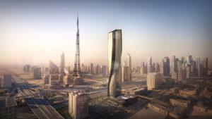 Así es la Torre Wasl en Dubái: un rascacielos hecho de cerámica