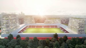 El sorprendente estadio de fútbol con torres de apartamentos y oficinas