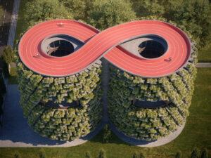 La increíble escuela verde, cubierta de plantas y con una pista de ciclismo