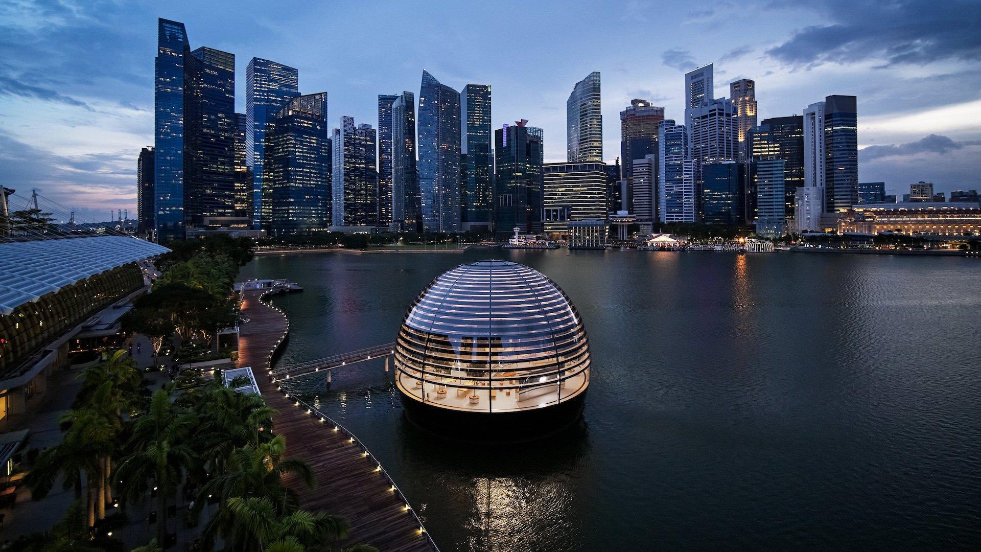 Así es la tienda flotante de Apple en Singapur: imágenes