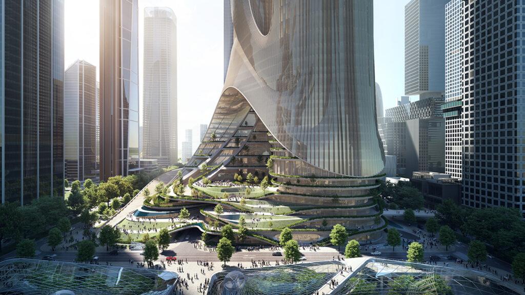 Tower C: el llamativo rascacielos de 400 metros en construcción en China
