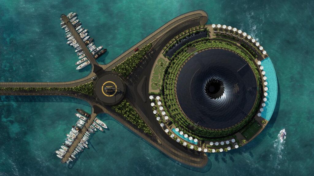 El impactante hotel ecológico, flotante y giratorio en Catar: imágenes